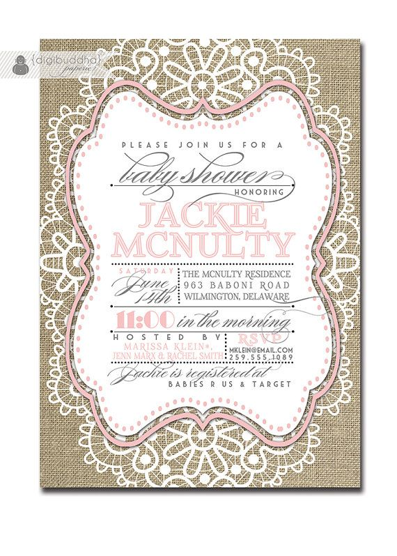 lace baby girl shower invitation linen burlap pink pastel vintage rustic invite rose pink free priority shipping or diy printable jackie