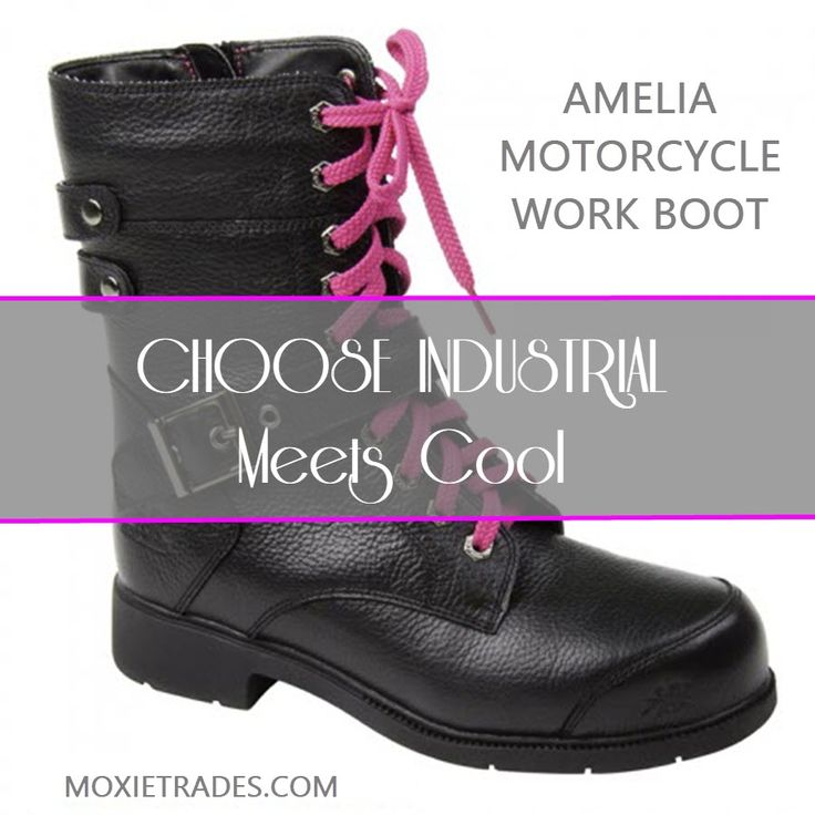 Women's Industrial Work Boots On Sale: Our Amelia 8″ Motorcycle safety work boot for women is designed for safety with major cool factor.