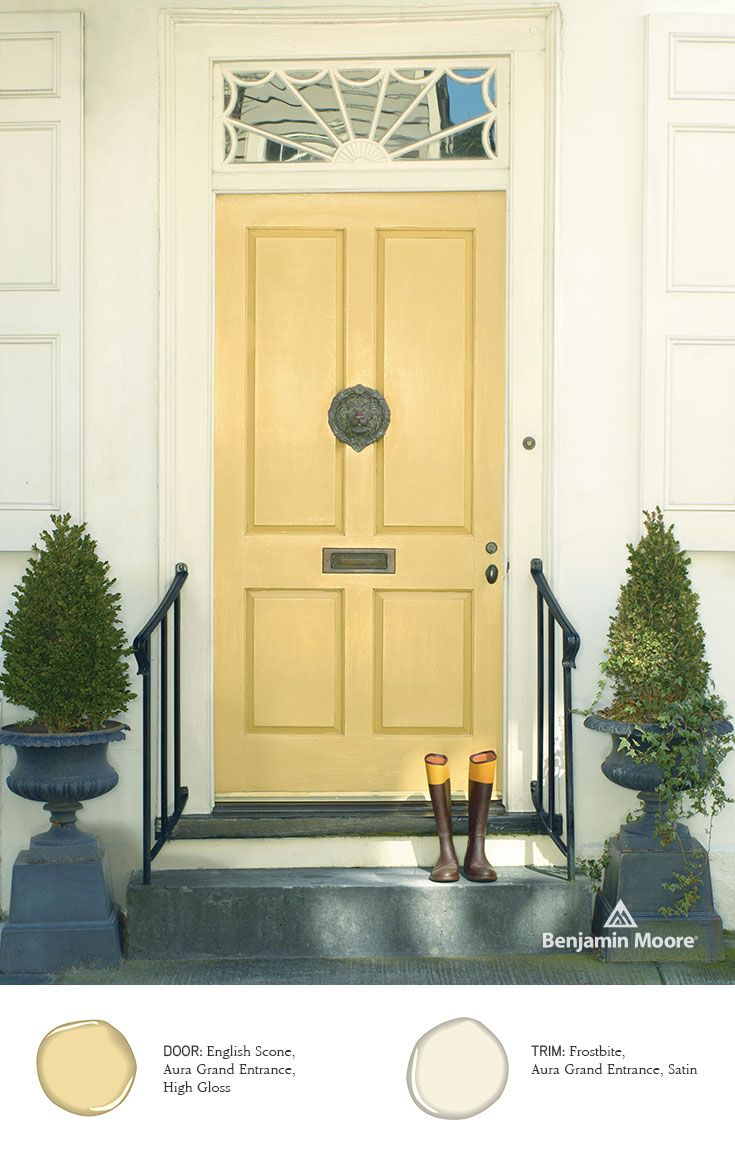 Elegant U0027English Sconeu0027 In High Gloss Provides A Light And Airy Feel For This  #FrontDoor, Apart Of The Benjamin Moore Aura Grand U2026 | The Perfect Shade Of  Paint In ...