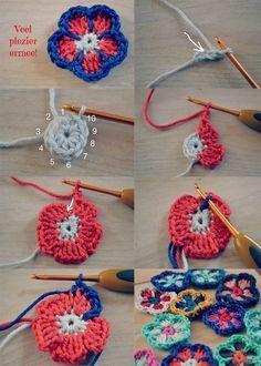 Crochet Flower - Tutorial ❥ 4U // hf ❥Teresa Restegui http://www.pinterest.com/teretegui/❥