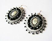 Ricamo orecchini perline orecchini perline ricamate monili nero bianco grigio orecchini madre di perla orecchini nero bianco
