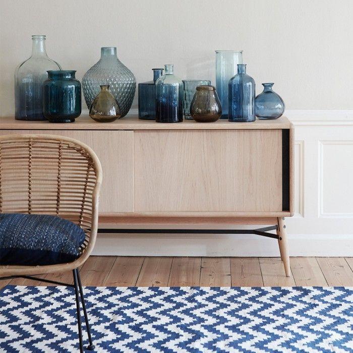 Vaso vetro blu monofiore by Hubsch
