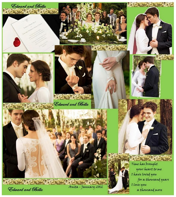 Fan made edward and bella wedding collage twifans for New moon vampire movie