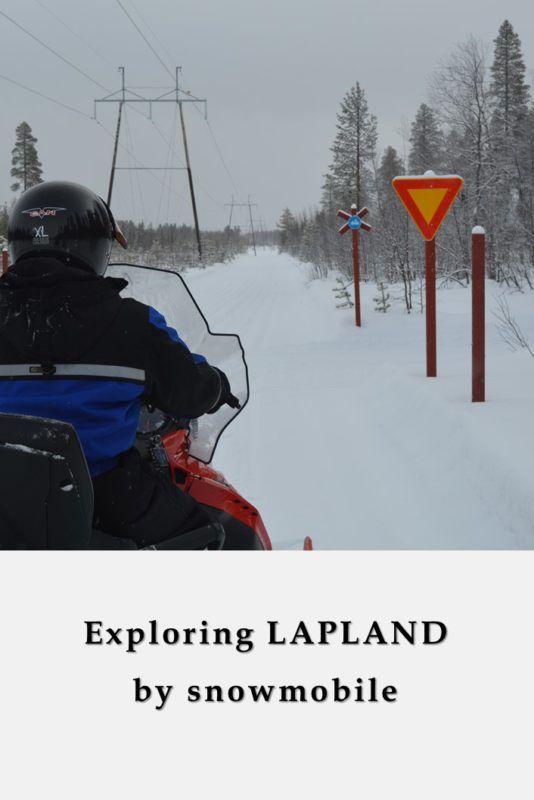 Riding a snowmobile around Levi, Finland