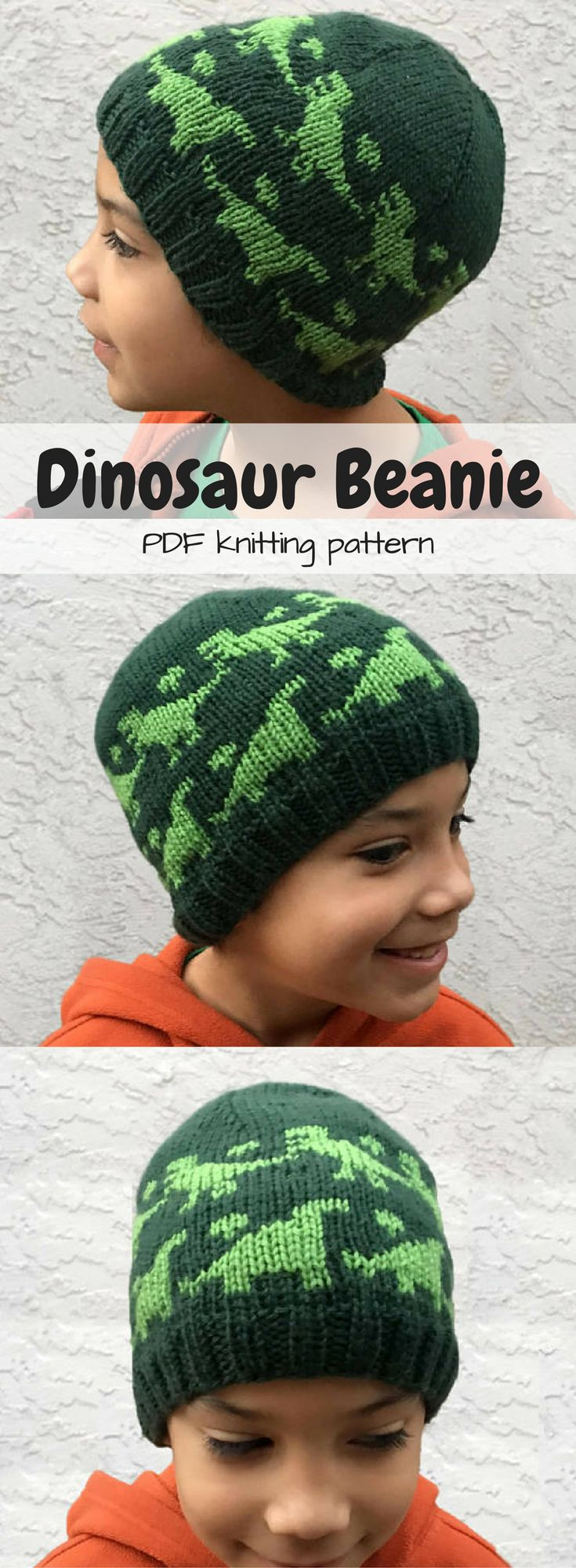"""Dinosaur Beanie pdf knitting pattern """"Rawr Beanie"""" What a cute knit hat pattern. Perfect for all those nephews! #toque #etsy #ad"""