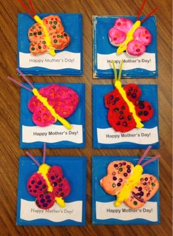 Kindergarten Clay Butterflies - Kindergarten students loved using Crayola Model Magic to create a great Mother's Day gift.