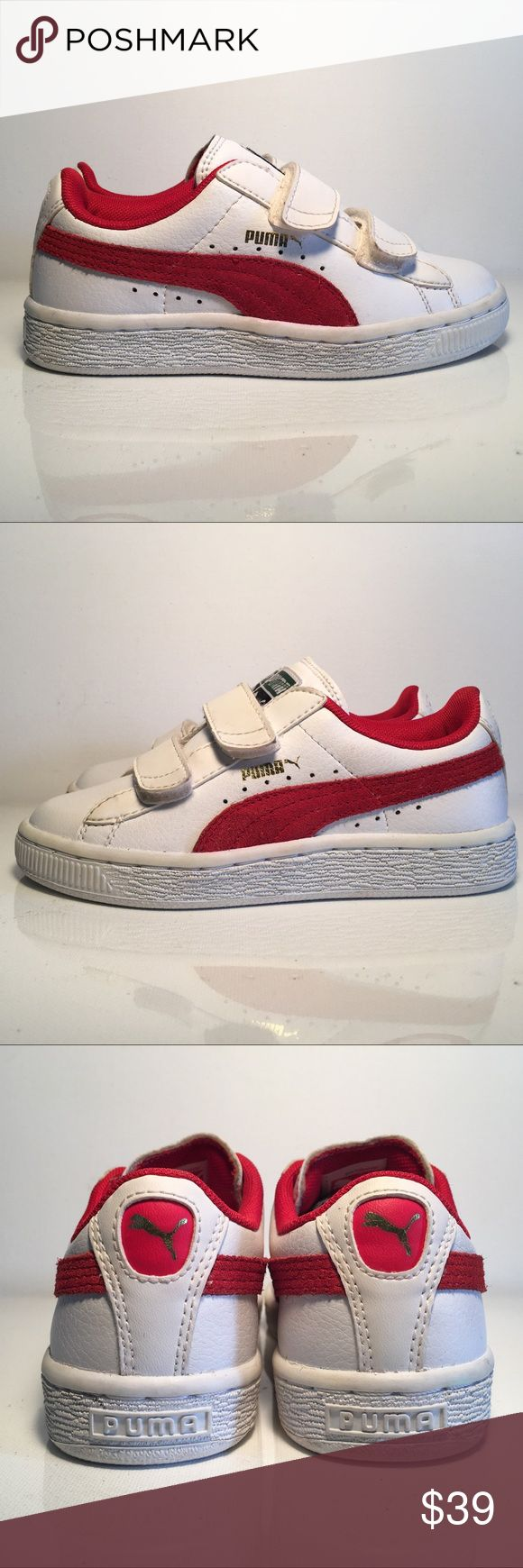 New Auth Puma Basket Classic Velcro Kids Leather New Auth Puma Basket Classic Velcro Kids Leather Size 12 Trainers    Vulcanized midsole for stability Leather upper for durability Two Velcro-like strap closures for a secure snug fit Red suede stripe branding on the side Inside padding  If you're looking for a classic low top trainer for your kids then look no further. The Puma Basket Classic are the perfect pick as it is stylish, comfotable, cool and will support your kids in their everyday…