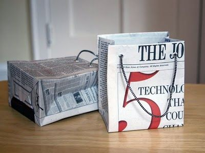 How to make gift bags from newspaper -great DIY
