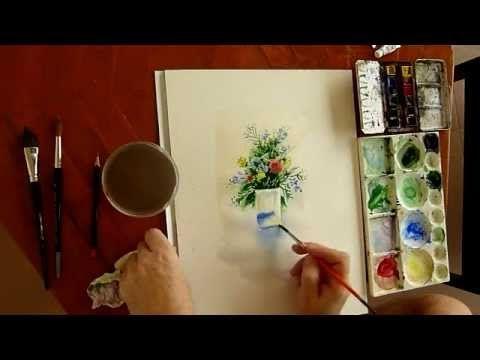Peindre à l'aquarelle - Comment peindre un bouquet de fleurs à l'aquarel...
