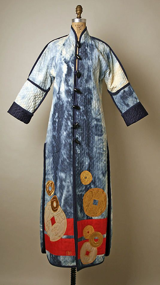 Quilted denim coat with coin appliqués, by Serendipity 3, American, 1977.
