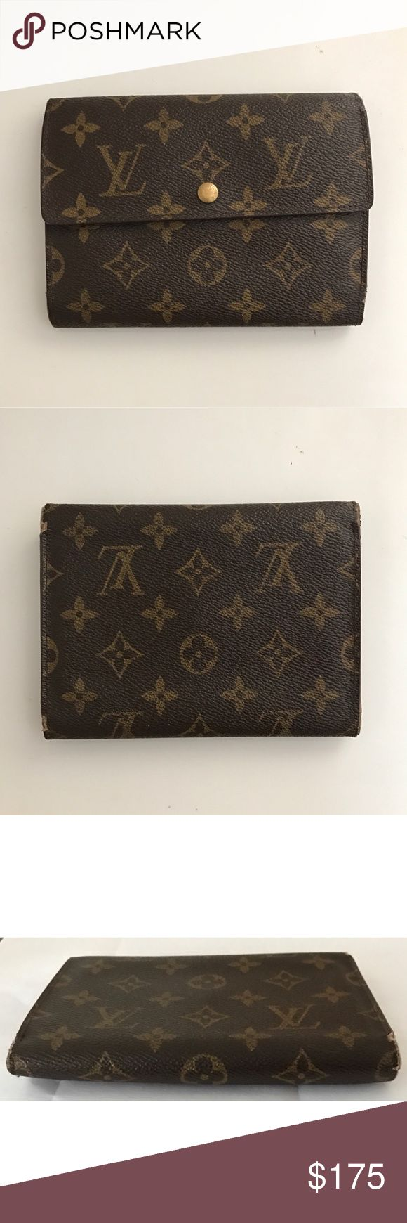 """💯Authentic Louis Vuitton Trifold Monogram Wallet Authentic Louis Vuitton Monogram Porte Tresor Etui Papiers trifold wallet. Has 6 card slots, 1 bill fold, 1 coin compartment, 2 flat pockets. Size H 4.5"""" x L 6.2"""" x W 0.5"""", date code SP0986, made in France. Has normal signs of use with minor dirt marks, scuffs on edges, loose threads, some interior slots have minor peeling. Wallet still in good condition and fully functional. View all pictures closely for signs of use. Retail $700. NO TRADES…"""