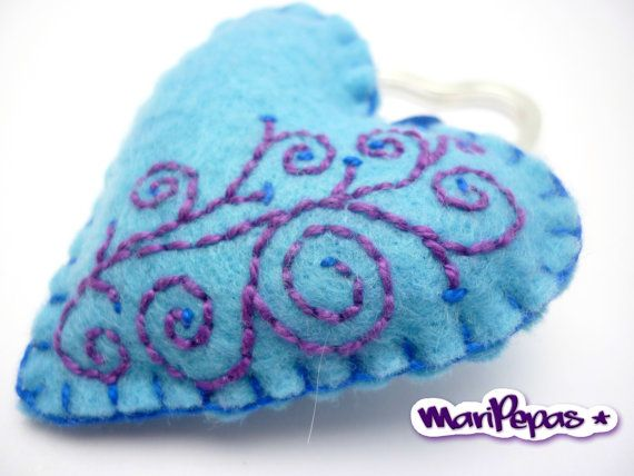 Light blue felt heart keyholder with embroidery by MariPepas, $15.00