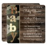 Rustic Camouflage Baby Shower Invitation
