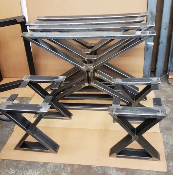 """Set of 2 Modern Dining Table """"X"""" Legs and 4 Bench """"X"""" legs, Heavy Duty  industrial, Metal tubing Legs"""