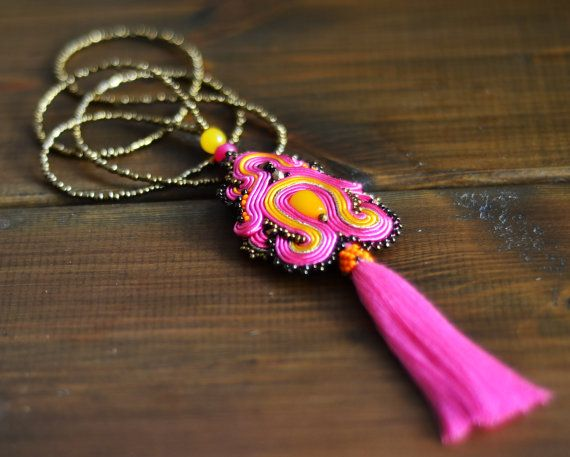 Long colorful Soutache Pendant. Colorful jewelry. by QlkaArt