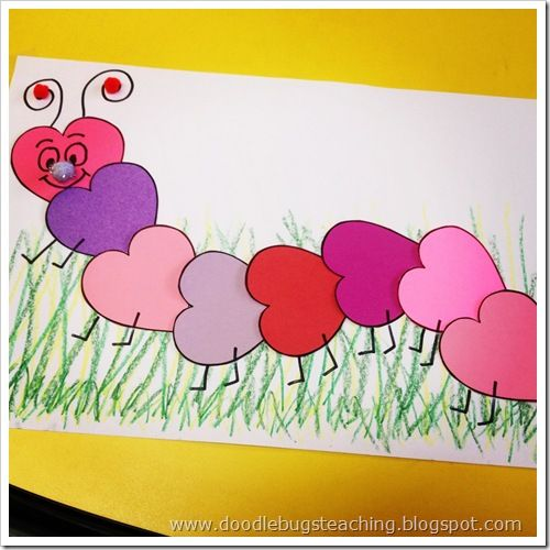 Valentine heart caterpillar. (Make a pattern or I'm thinking of tying in fractions such as 2/8 is purple...)