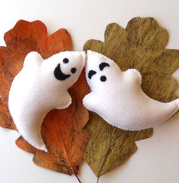 Hand Stitched Wool Felt Ghosts by GardenBirdie on Etsy