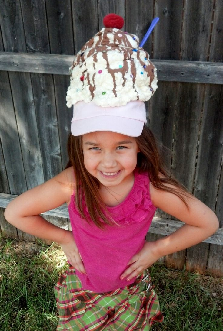 Ice Cream hat for 'Hilarious hat' day at school.  Spray foam from Lowes, brown paint to make chocolate, sequin sprinkles, a spoon and fuzzy ball for a cherry!