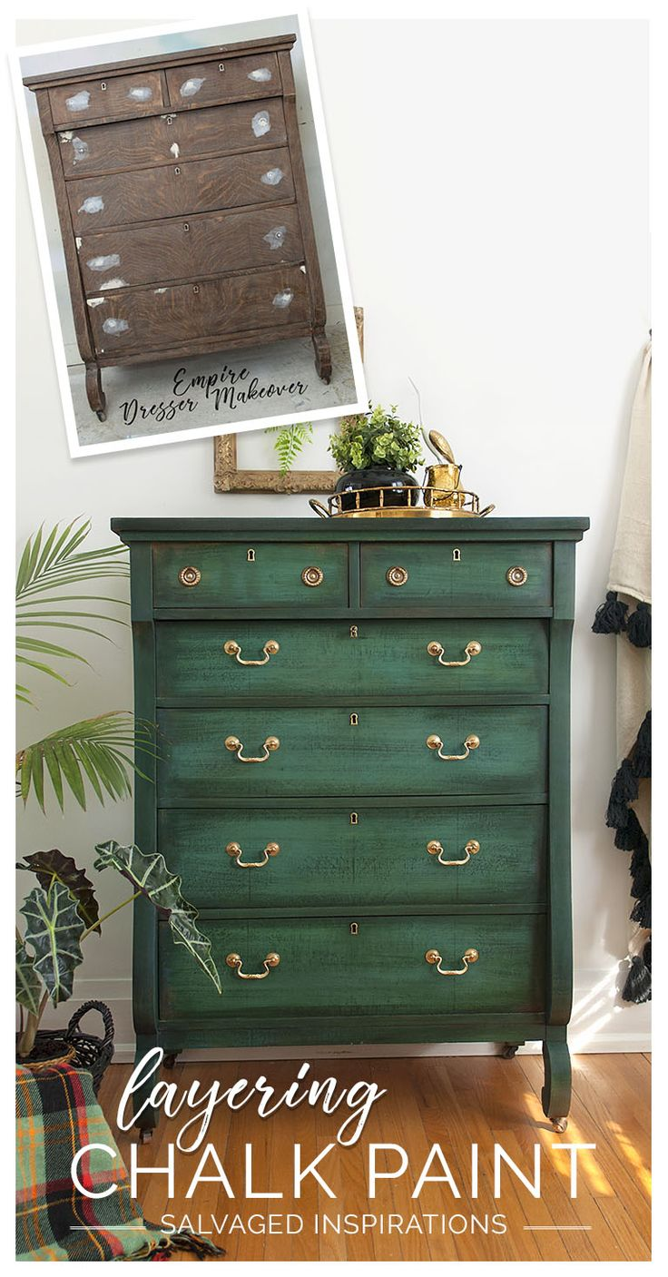 Empire Dresser Painted in Layered Chalk Paint Before and After | Salvaged Inspirations