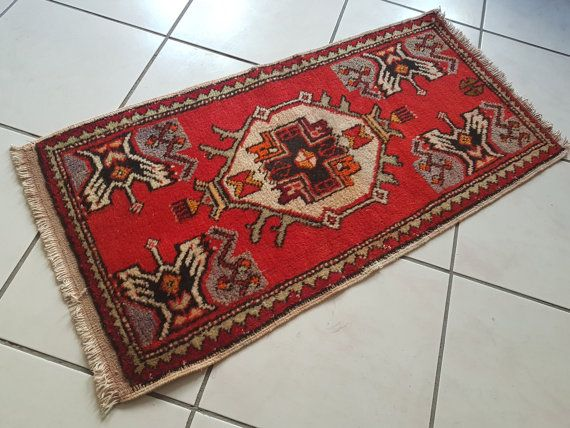 Table Mat Vintage Red Colored Turkish Carpet Floor Mats