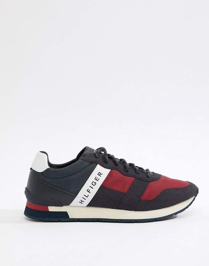 25242d8b6e25ec Tommy Hilfiger Icon Colors Logo Mix Materials Runner Sneakers in  Red White Blue