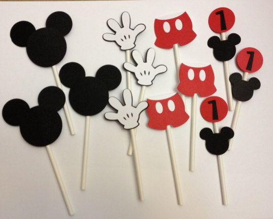 Mickey Mouse Birthday Cupcake Toppers 12 by TheGirlNXTdoor on Etsy