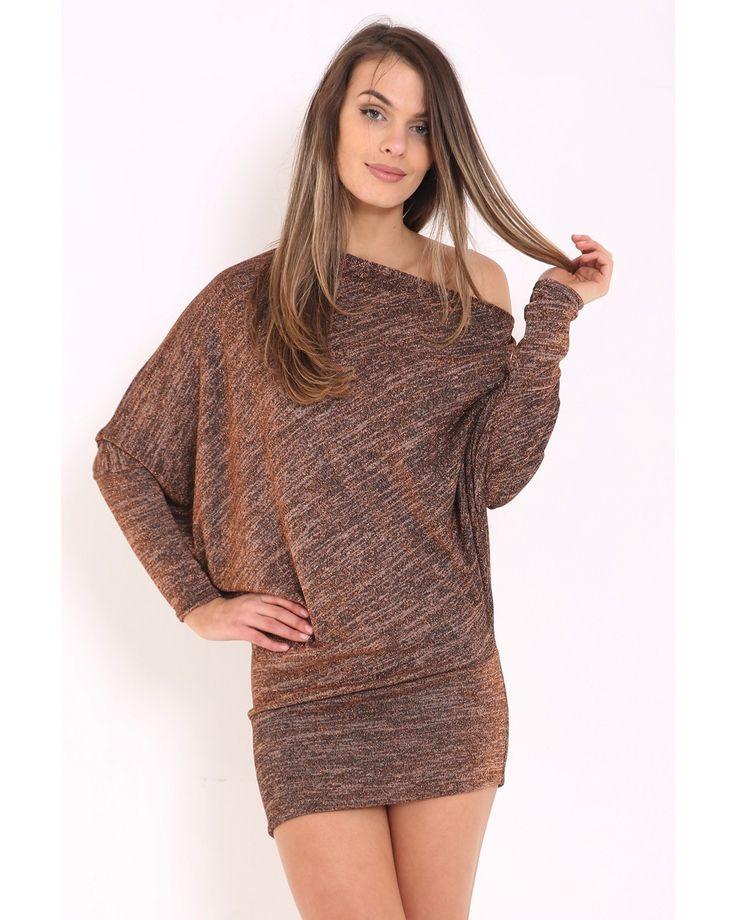 Melony Lurex Knit Metallic Off Shoulder Batwing Dress Top In Bronze | Vivichi