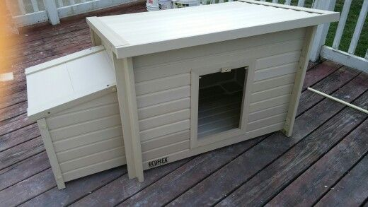 Great idea for your kitties litter boxes just attach to your house on the outside its actually a chicken coop