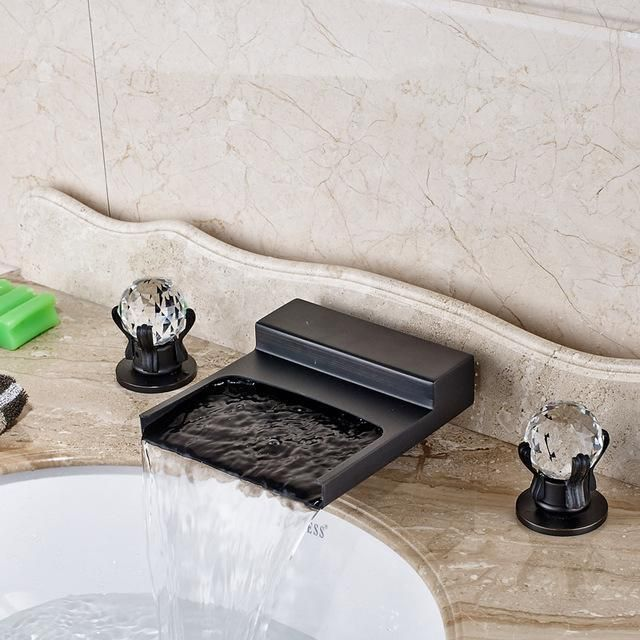 Deck Mounted Black Wide Waterfall Spout Bath Tub Sink Faucet