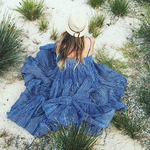 Viaroma24 wearing our Eva Dress. #mesdemoiselles #springsummer #dress #stripes #blue # #mesdemoisellesparis