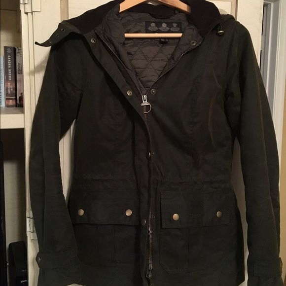 ONE HOUR SALE!!! Ladies Barbour Jacket Not sure of the style name. Size 6. I have two other Barbour jackets and never wear this one. Quilted lining. Original olive color. Has a detachable hood with buckle detail and shearling lining. Also has zipper pocket on the quilted lining. Barbour Jackets & Coats Utility Jackets