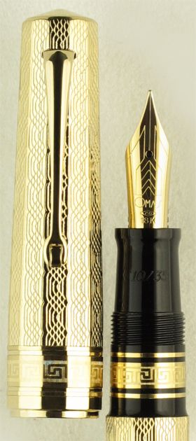 OMAS Arte Italiana Sterling Silver  Limited Edition Vermeil. With its gilded finish and twelve-faceted shape, the OMAS Arte Italiana Sterling Silver Limited Edition Vermeil fountain pen is a striking homage to the Art Deco style of the 1930s. Available only in 35 numbered pens worldwide, we are pleased to announce that we have managed to secure a very small number of these for our customers. Also available in Silver. Our Price $1200.