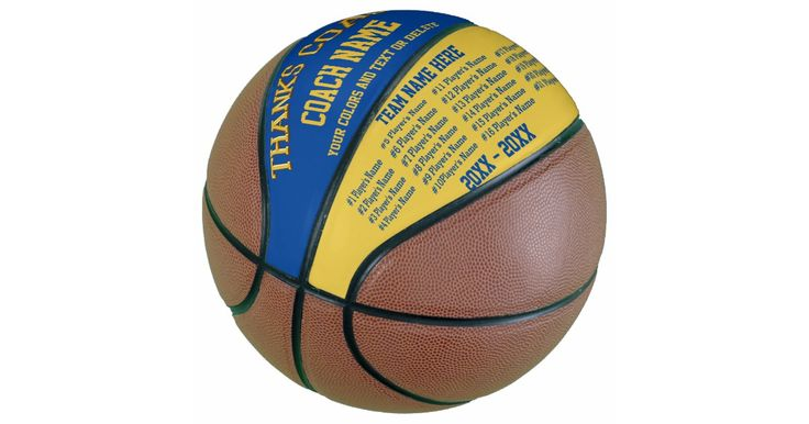 Best Basketball Coach Gifts in Your Team COLORS and TEXT.  ALL Player's Names, Coach and Team Names and Year or Years or YOUR TEXT or Delete.   Call the designer Linda to redesign this personalized basketball with you colors and text templates to fit your text.   239-949-9090  See INSTRUCTIONS below to CHANGE the Blue and Gold Background and Text Colors to ANY Your Team COLORS or I will make Changes for you. Call Designer Linda at 239-949-9090, to HELP you personalize it, add more name te...