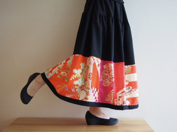 Patch-worked Skirt with Vintage Japanese Kimono by RikaShioya