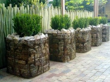 Smaller gabion baskets with room inside for pots for Landscaping rocks cape town