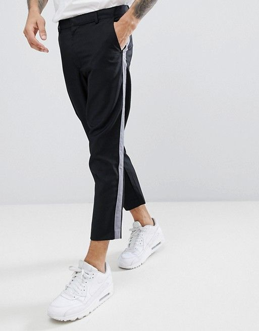boohooMAN Cropped Tapered Pants With Side Stripe In Black 7e6a95de2742