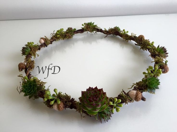 Woodland floral crown, Succulents, Moss and twigs, with tiny felt acorns.