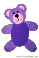 Easy Teady Bear craft-have toddler paint paper brown one day, then cut shapes out ahead of time to mimic the ones in photo, then have child assemble bear on paper