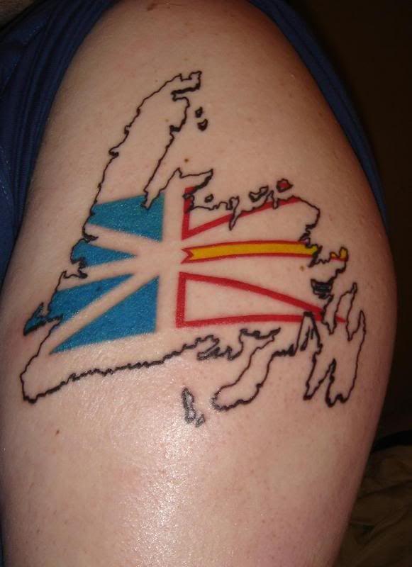 Newfoundland flag/map tattoo.