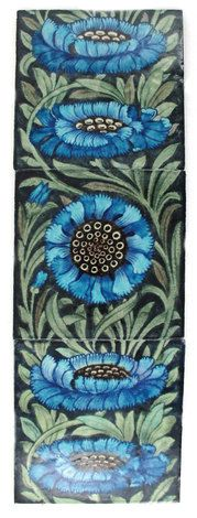 William de Morgan Fulham period tiles, one painted with carnations in blue and green.