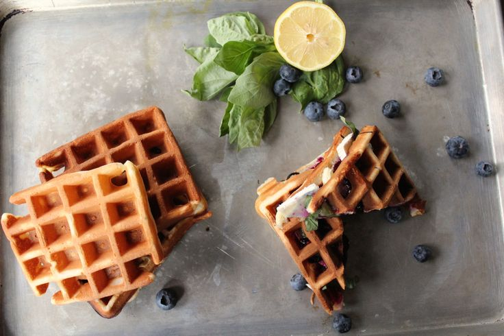 Blueberry, Basil and Brie Waffle Sandwich