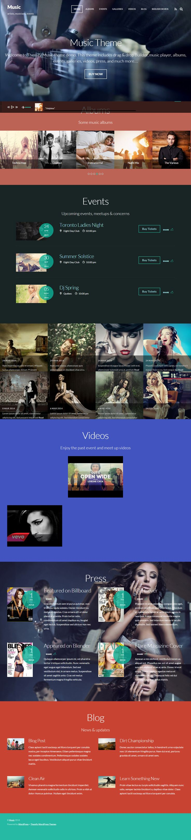 Music is Premium Responsive Retina Parallax WordPress Theme for artists, events, portfolios, photographers, and apps. Video Background. http://www.responsivemiracle.com/cms/wordpress/music-premium-responsive-wordpress-music-theme/