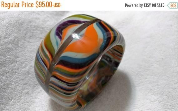 SALE Sobral Bangle Pop Art Striped Bracelet Huge Bangle