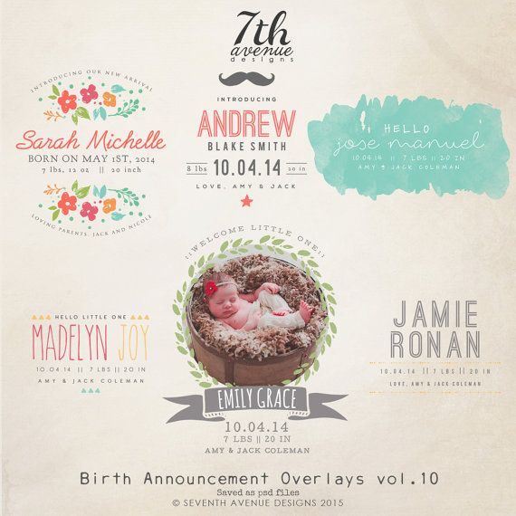 INSTANT DOWNLOAD  Birth Announcement Words by 7thavenuedesigns