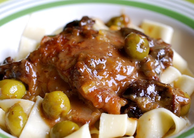 Lemon Chicken Braise with Prunes & Olives
