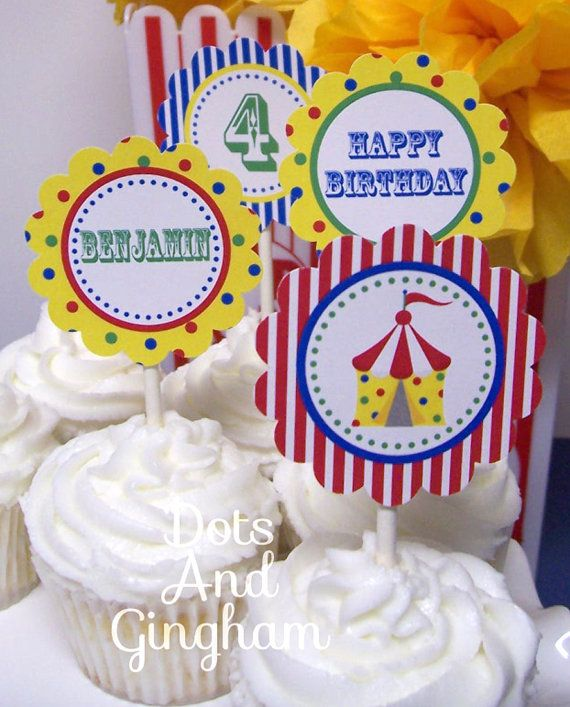 Circus Cupcake TopperPrintable Circus Cupcake by DotsAndGingham, $8.00