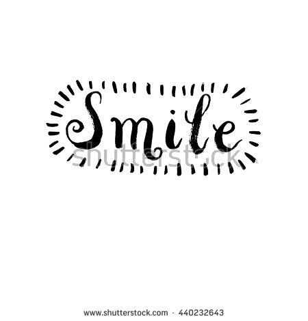 "Handwritten design element. Text lettering of an inspirational phrase ""Smile"". Quote Typographical Poster Template, vector design. Hand drawn brush calligraphy poster."
