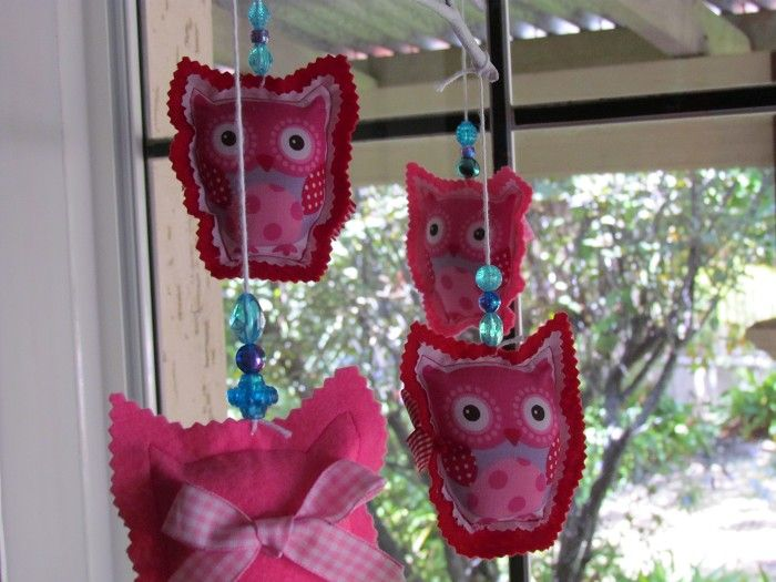 Owls mobile in aqua, pink and red