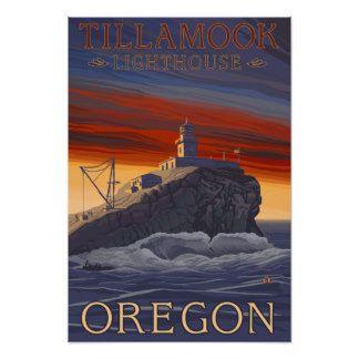 Affisch för Tillamook fyrvintage resor Poster