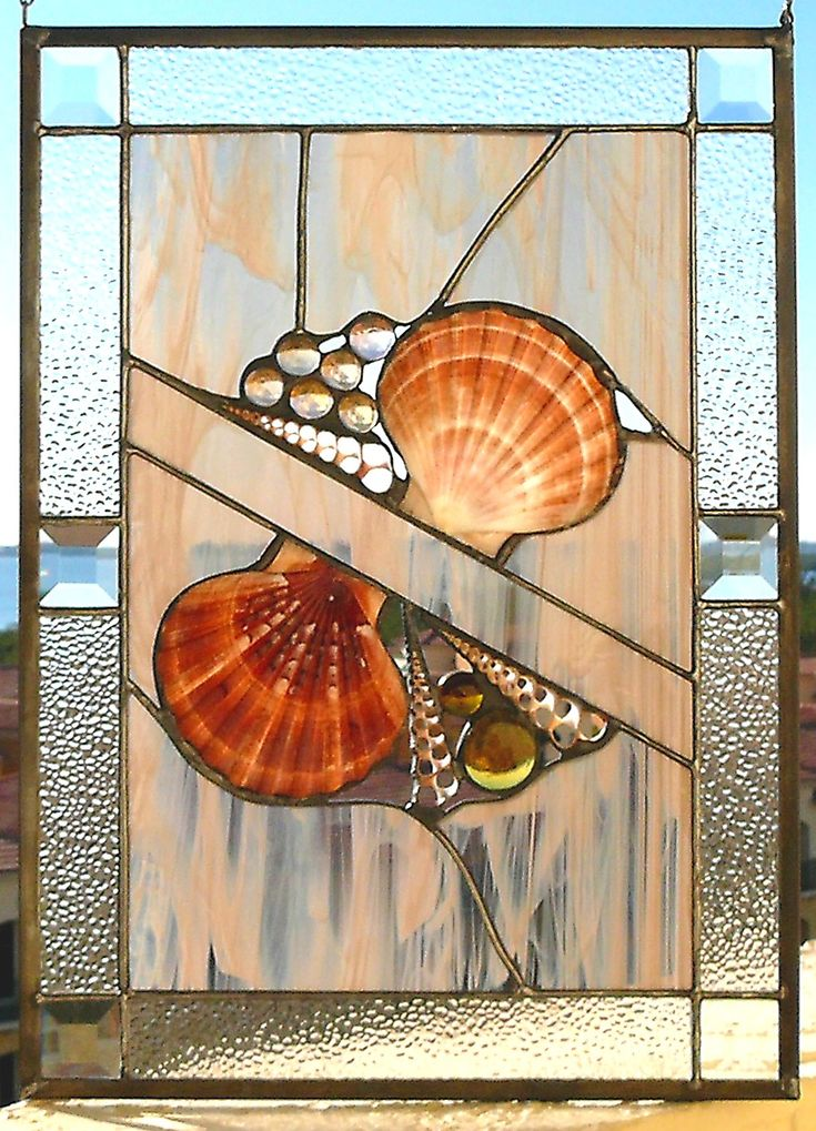 Seashells and Nuggets Stained Glass Panel.